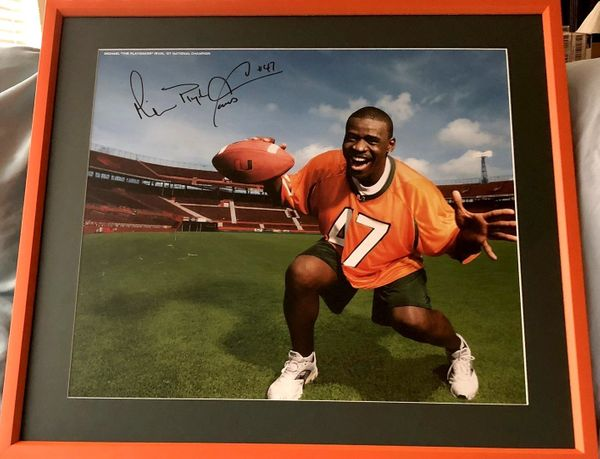 Michael Irvin autographed Miami Hurricanes poster matted and framed