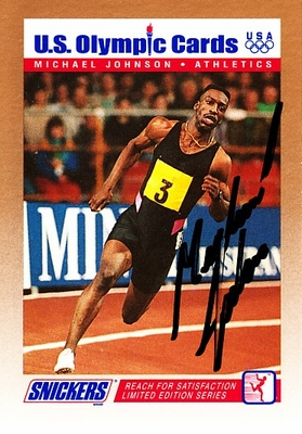 Michael Johnson autographed 1992 Snickers U.S. Olympic card