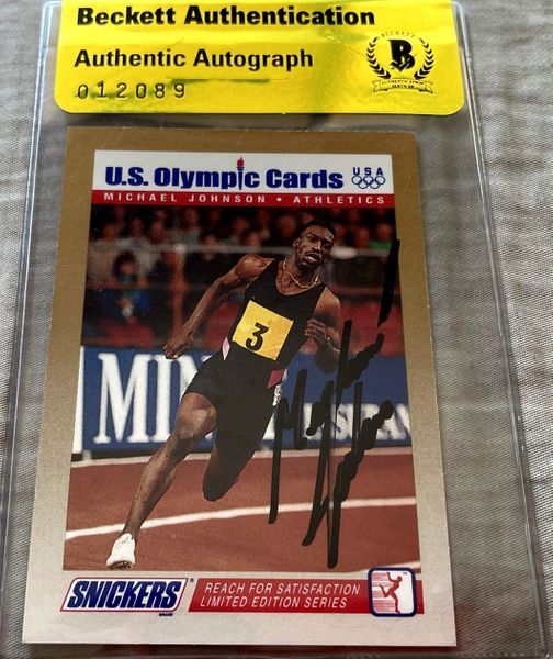 Michael Johnson autographed 1992 Snickers U.S. Olympic card (BAS authenticated)