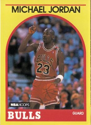 Michael Jordan Chicago Bulls 1990 Hoops Superstars card