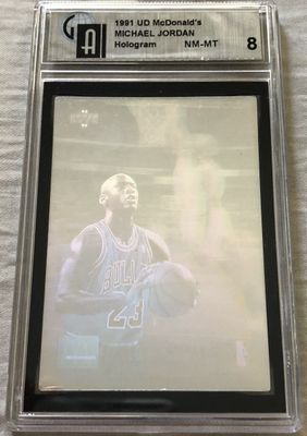 Michael Jordan 1992-93 Upper Deck McDonald's hologram card GAI graded 8 NrMt-Mt
