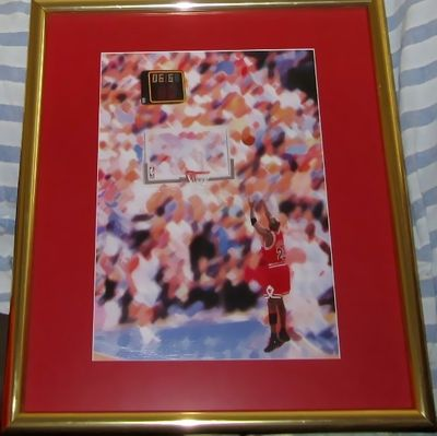 Michael Jordan Chicago Bulls 1998 NBA Finals winning shot print on canvas matted and framed