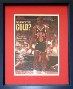 Michael Jordan autographed 1984 U.S. Olympic Team magazine photo matted and framed (RARE FULL NAME SIGNATURE)