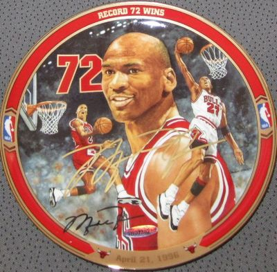 Michael Jordan autographed UDA Chicago Bulls 1995 1996 72 Wins commemorative plate