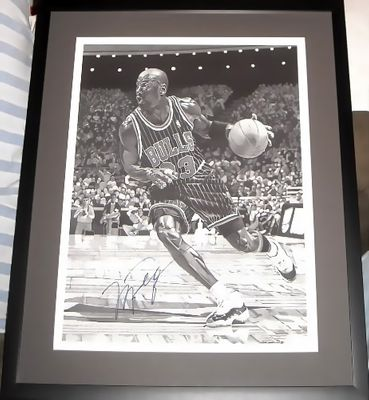 Michael Jordan autographed Chicago Bulls 16x20 lithograph matted and framed