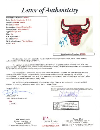 Michael Jordan autographed Chicago Bulls authentic Nike warmup jersey or shooting shirt (JSA)
