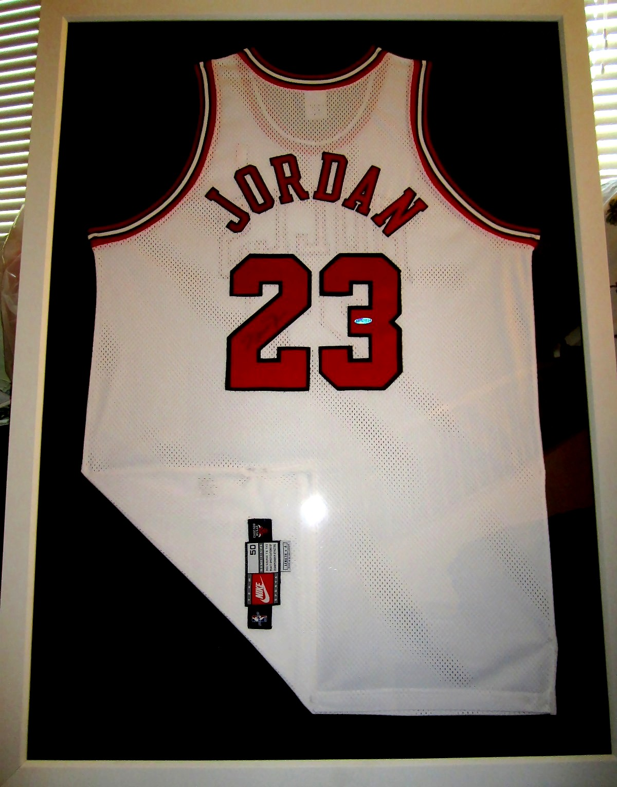 0d098e3ffa28 Michael Jordan autographed Chicago Bulls white Nike game model jersey  matted   framed UDA