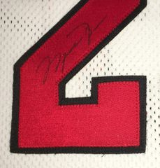 Michael Jordan autographed Chicago Bulls white Nike game model jersey matted & framed UDA