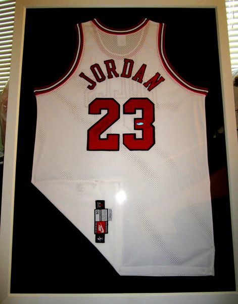 Michael Jordan autographed Chicago Bulls authentic Nike 1997 Pro Cut white game model jersey matted and framed UDA