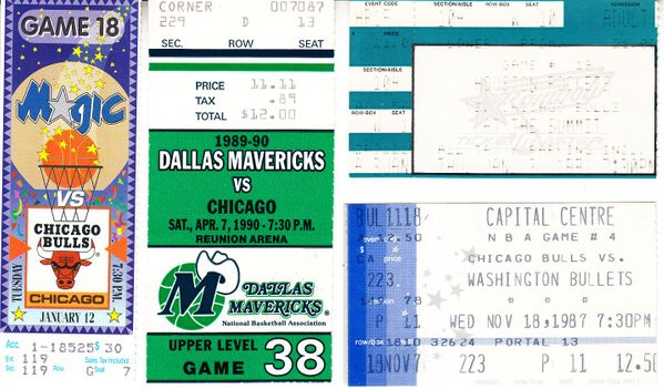 Michael Jordan lot of 4 different Chicago Bulls road game tickets