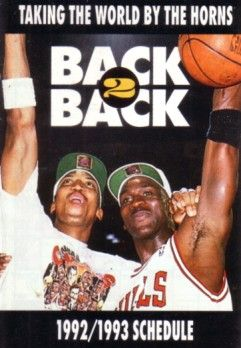 Michael Jordan and Scottie Pippen 1992-93 Chicago Bulls pocket schedule