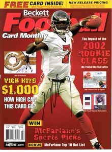 Michael Vick autographed Atlanta Falcons 2003 Beckett Football magazine cover