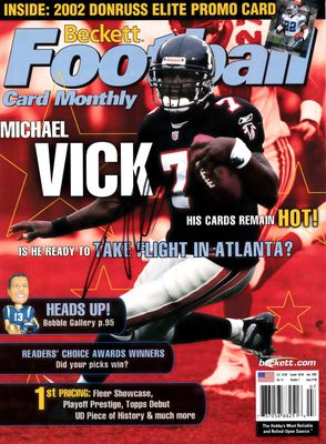 Michael Vick autographed Atlanta Falcons 2002 Beckett Football magazine cover