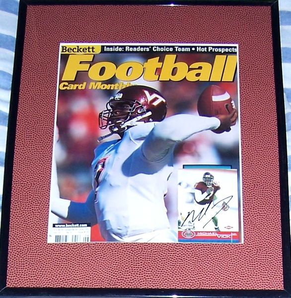 Michael Vick autographed Virginia Tech Hokies 2001 Beckett Football cover matted and framed