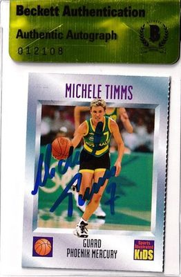 Michele Timms autographed Phoenix Mercury 1997 Sports Illustrated for Kids card (BAS authenticated)