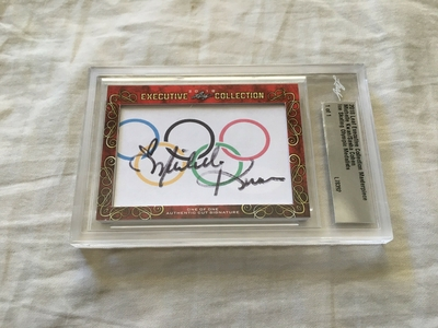 Michelle Kwan and Sasha Cohen 2018 Leaf Masterpiece Cut Signature certified autograph card 1/1 JSA