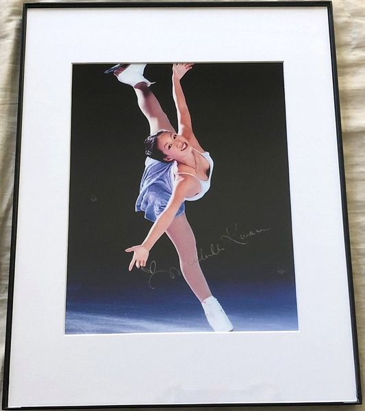 Michelle Kwan autographed skating 8x10 blue dress photo matted and framed (flawed)
