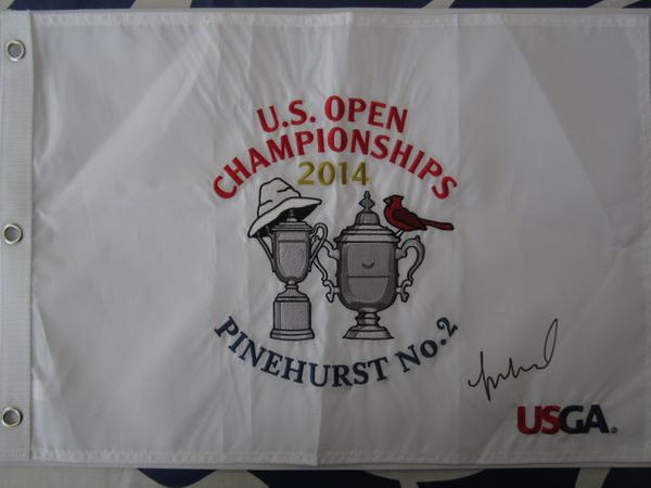 Michelle Wie autographed 2014 U.S. Women's Open embroidered golf pin flag