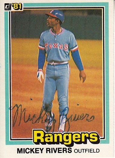 Mickey Rivers autographed Texas Rangers 1981 Donruss card