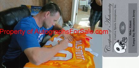 Mike Alstott autographed Tampa Bay Buccaneers 1996 rookie orange stitched jersey inscribed A-Train (Creative Sports)