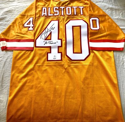 Mike Alstott autographed Tampa Bay Buccaneers 1996 rookie orange stitched jersey inscribed A-Train (PSA/DNA)