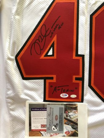 Mike Alstott autographed Tampa Bay Buccaneers 2002 authentic Reebok white game model jersey inscribed A-Train PSA/DNA