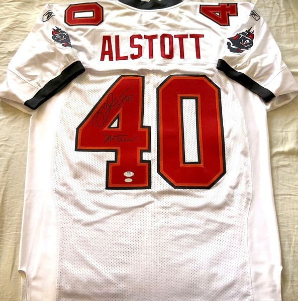 Mike Alstott autographed Tampa Bay Buccaneers authentic Reebok game model jersey inscribed A-Train (PSA/DNA)