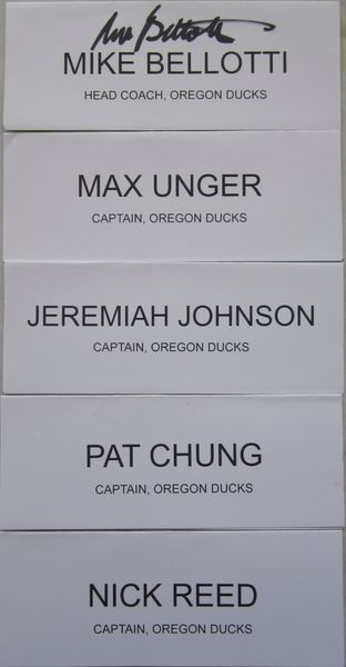 Mike Bellotti autographed Oregon Ducks 2008 Holiday Bowl lunch placard set