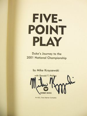 Mike (Coach K) Krzyzewski autographed Duke 2001 National Championship Five Point Play book