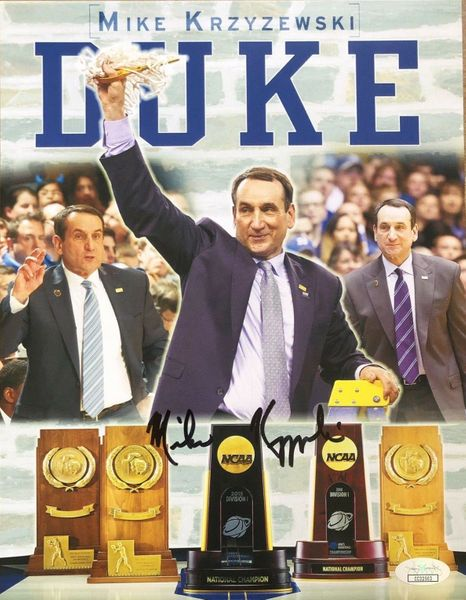 Mike (Coach K) Krzyzewski autographed Duke Blue Devils 5 NCAA Titles photo (JSA)