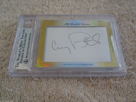 Mike Eruzione and Craig Patrick 2014 Leaf Masterpiece Cut Signature 1/1 JSA 1980 USA