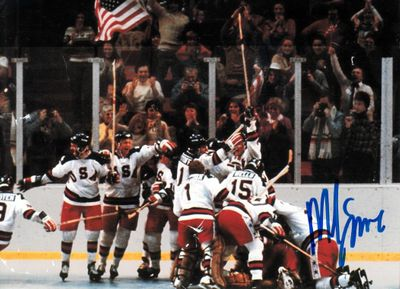 Mike Eruzione autographed 1980 Miracle on Ice USA Olympic Hockey celebration 5x7 photo (light scratches)