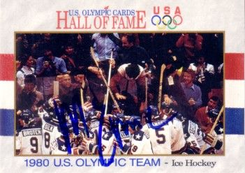 Mike Eruzione autographed 1980 Miracle on Ice U.S. Olympic Hall of Fame card