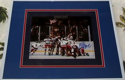Mike Eruzione autographed 1980 Miracle on Ice USA Olympic Hockey Team celebration 8x10 photo matted and framed