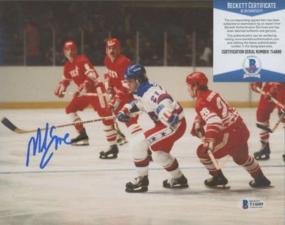 Mike Eruzione autographed 1980 USA Olympic Hockey Team 8x10 photo vs Russia (BAS authenticated)