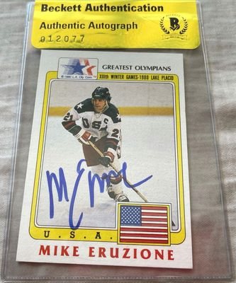 Mike Eruzione autographed 1980 Miracle on Ice USA Hockey Team 1983 Topps Greatest Olympians card BAS authenticated