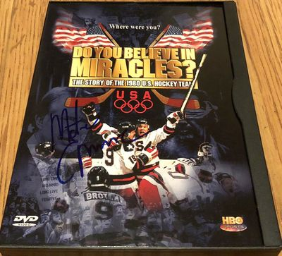 Mike Eruzione autographed 1980 USA Hockey Team Do You Believe in Miracles movie DVD and box