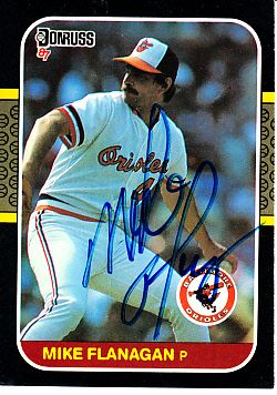 Mike Flanagan autographed Baltimore Orioles 1987 Donruss card
