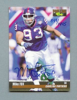 Mike Fox New York Giants certified autograph 1995 Pro Line card