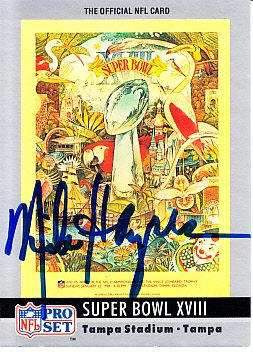 Mike Haynes autographed 1990 Pro Set Super Bowl 18 program cover card
