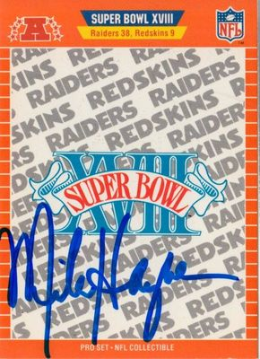Mike Haynes autographed 1989 Pro Set Super Bowl 18 logo card