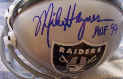 Mike Haynes and Howie Long autographed Oakland Raiders mini helmet
