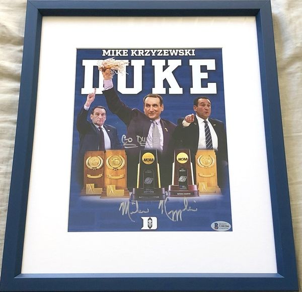 Mike (Coach K) Krzyzewski autographed Duke Blue Devils 5 NCAA Titles photo inscribed GO DUKE! matted and framed (BAS authenticated)