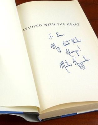Mike (Coach K) Krzyzewski autographed Leading with the Heart hardcover book (inscribed To Tim)