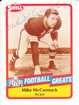 Mike McCormack autographed 1989 Swell Football Greats Pro Football Hall of Fame card