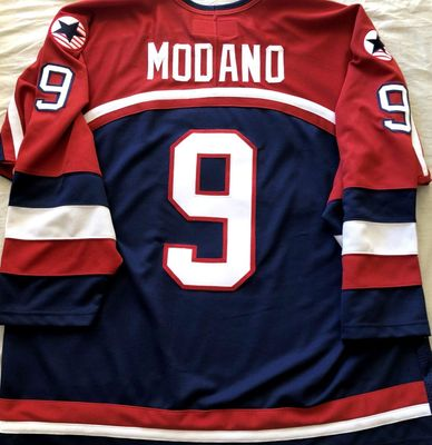 Mike Modano 2002 U.S. Olympic Hockey Team authentic stitched blue Nike jersey