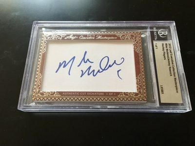 Mike Modano and Jeremy Roenick 2012 Leaf Masterpiece Cut Signature certified autograph card 1/1