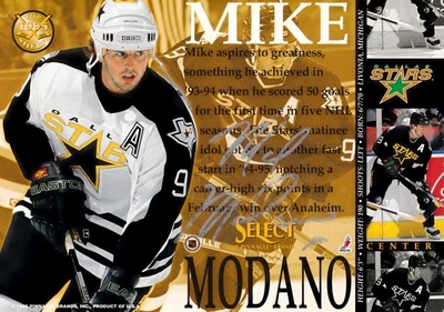 Mike Modano autographed Dallas Stars 1995 5x7 jumbo card