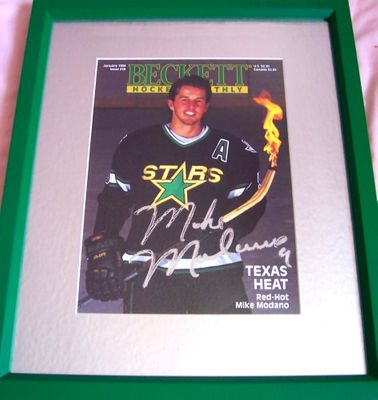 Mike Modano autographed Dallas Stars Beckett Hockey cover matted & framed
