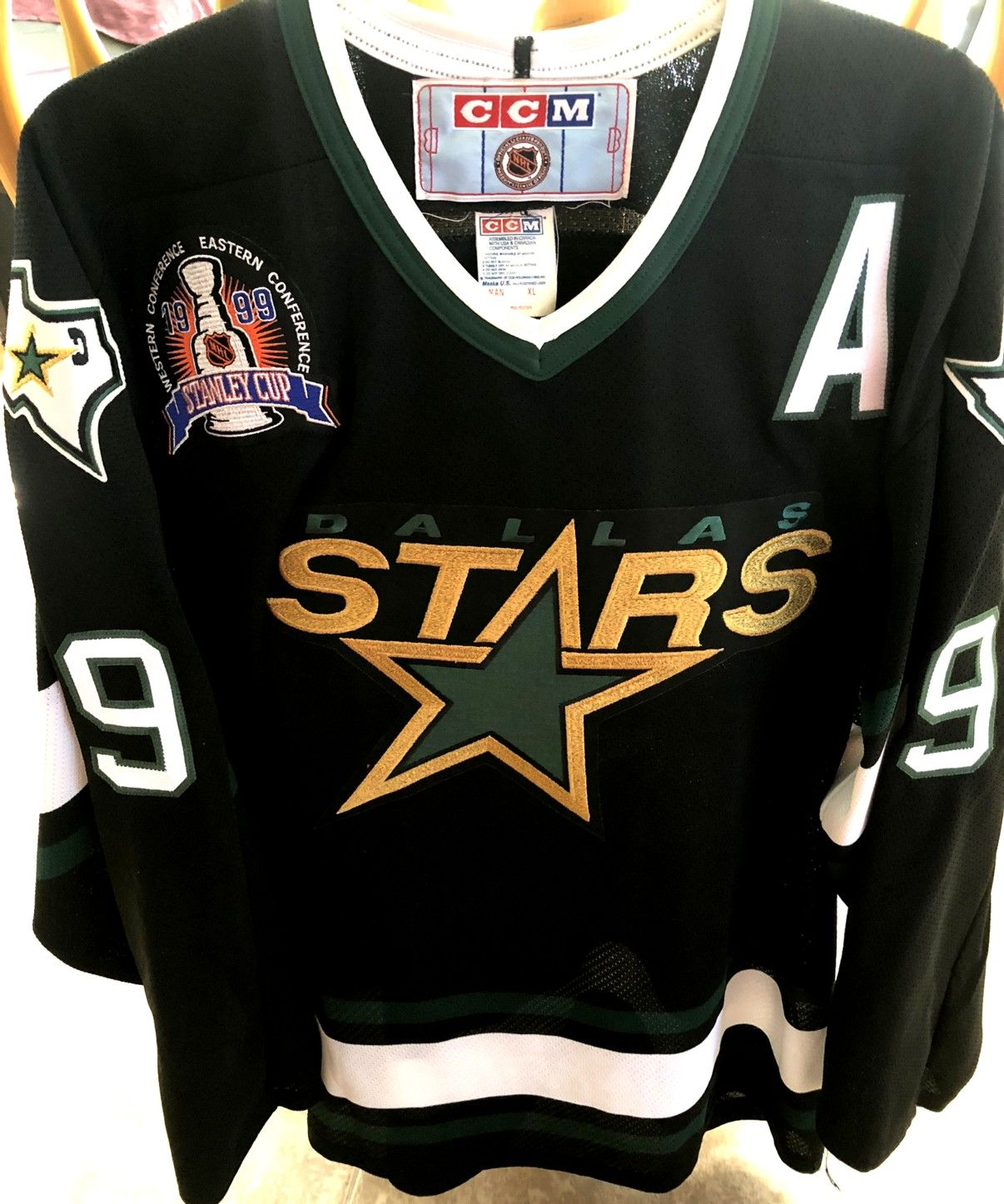 Mike Modano Dallas Stars 1999 Stanley Cup Authentic Ccm Double Stitched Black Jersey